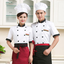 high quality 2018 new Short-sleeved Chef service Hotel working wear Restaurant work clothes white Tooling uniform cook Tops