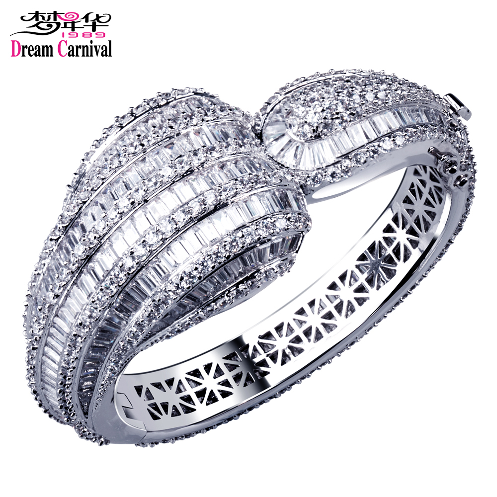 Dreamcarnival 1989 New Luxury Big Bangle For Women Round & Square Cut CZ Paved Rhodium Gold Color Bridal Wedding Jewelry YB0544