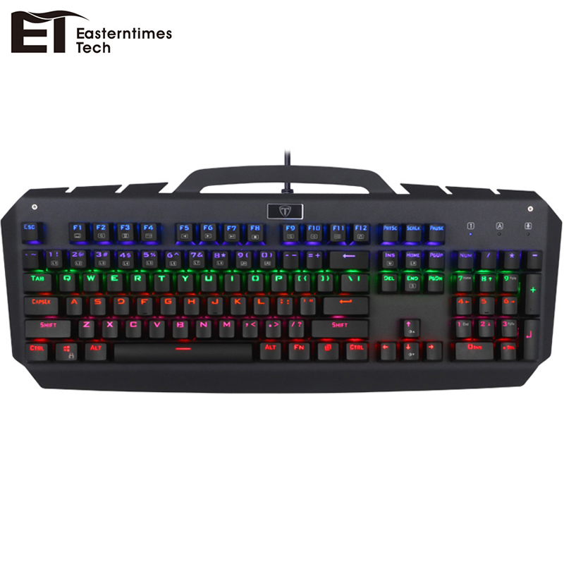 ET I700 Mechanical Keyboard USB Wired Gaming Keyboard Blue Switch 104 Keys Computer Gamer Gaming Keyboard RGB Backlight Keycaps