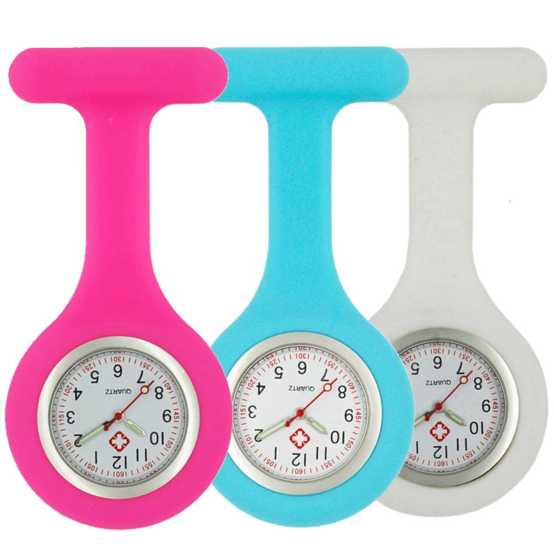 Luminous Pointer Silicone Soft Nurse Watches Women Ladies Doctor FOB Pocket Watches Medical Doctor Hospital Quartz Hang Watches