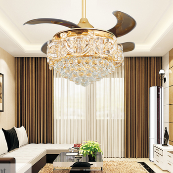 Buy 52 inch modern led crystal chandelier - Bedroom ceiling fans with remote control ...