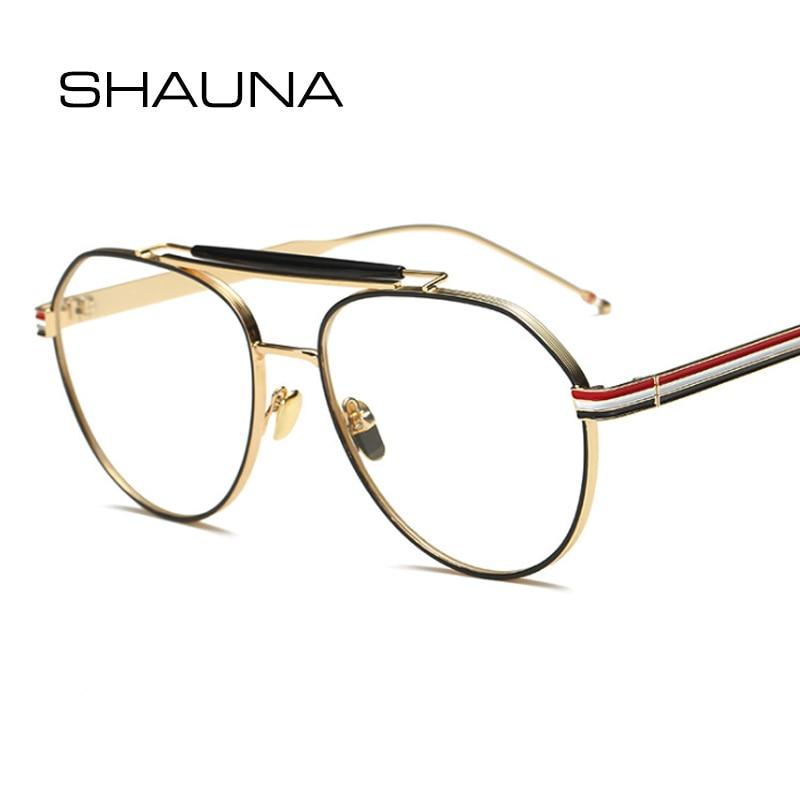 08edaf3c8 SHAUNA أزياء النساء نظارات دائرية إطار العلامة التجارية مصمم ريترو الرجال  مزدوجة الجسور واضح عدسة النظارات