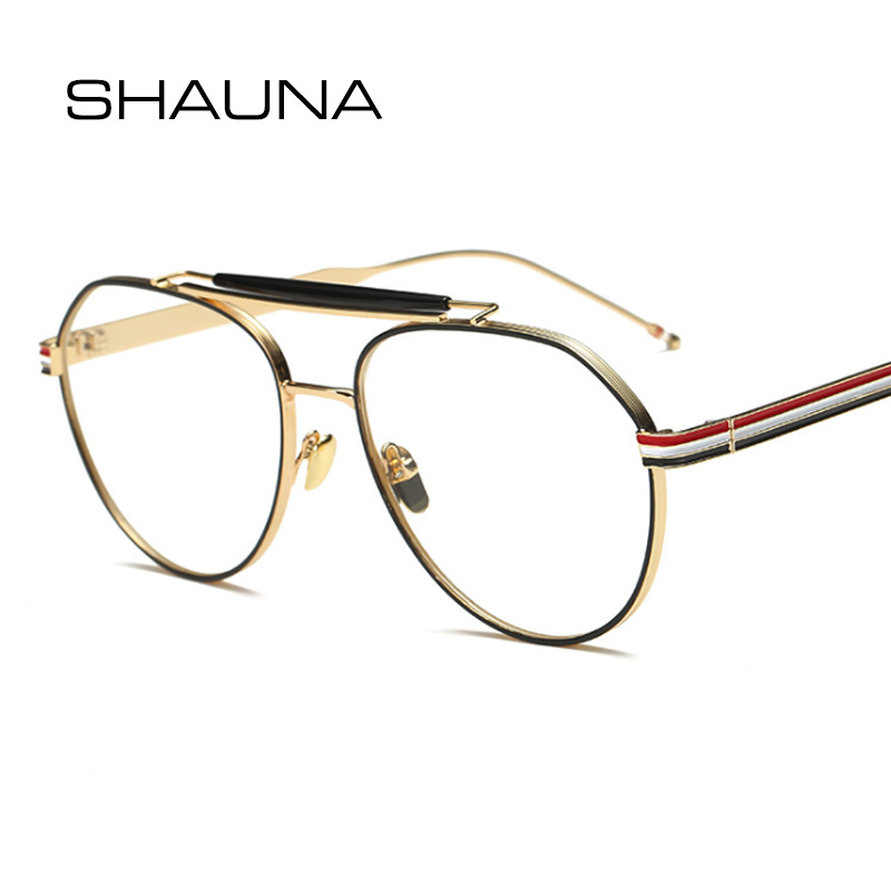fbde548c6 SHAUNA أزياء النساء نظارات دائرية إطار العلامة التجارية مصمم ريترو الرجال  مزدوجة الجسور واضح عدسة النظارات