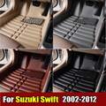 Car Floor Mats for Suzuki Swift 2002-2012 years XPE+Leather Anti-slip car carpet Front & Rear Liner Auto Waterproof mat 4 color