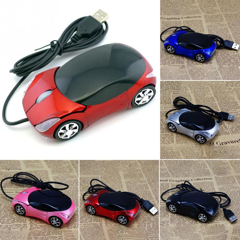 1600DPI Mini Car shape USB optical wired mouse innovative 2 headlights mouse for desktop computer laptop Mice Brand new sunsonny t m30 usb wired 6 button 600 1000 1600dpi adjustable led gaming mouse golden red