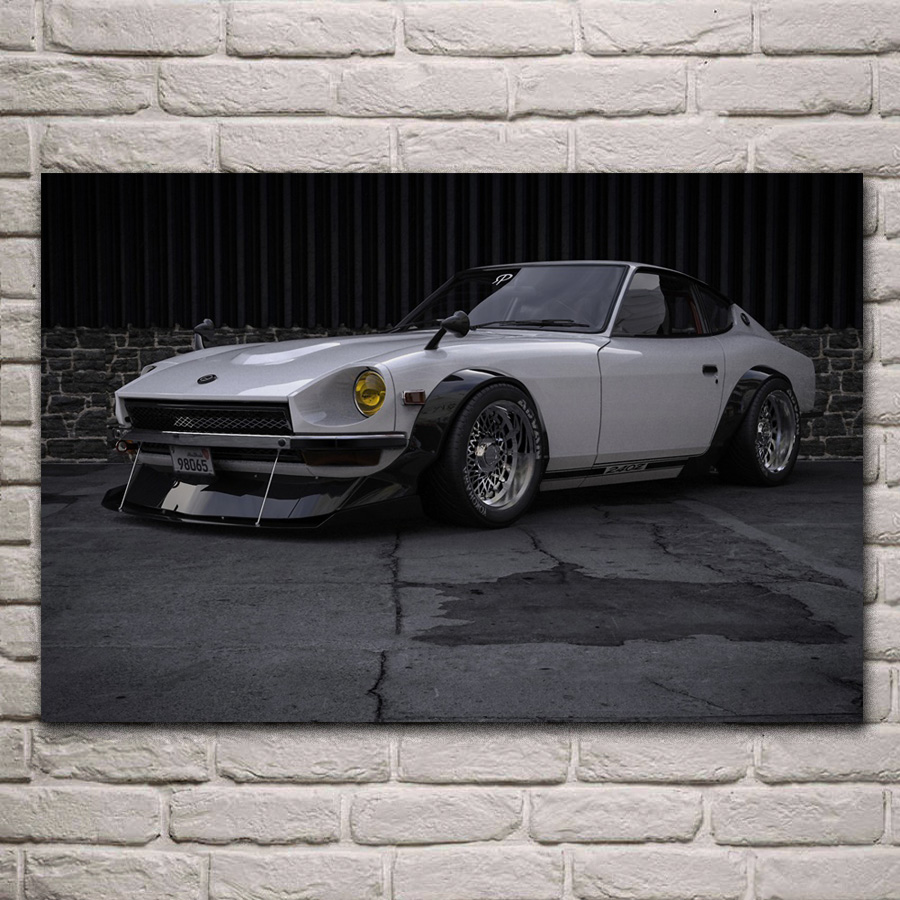 <font><b>240z</b></font> tuning sport car cool supercar living room decor home wall art decor wood frame fabric posters KH633 image