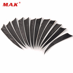 12pcs/lot Black 4 inch Turkey Feather Real Arrow Feather Vans For DIY Archery Arrows