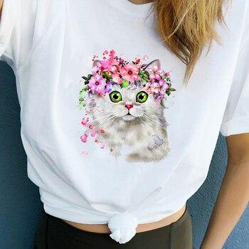 Women Clothes Summer Flower Cat Cute Sweet fashion Print Ladies Printed Women Top Casual Woman Tee Shirt T Female T-shirt