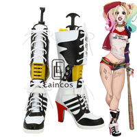 Customized Size Batman Harley Quinn Cosplay Party Shoes White And Black Fancy Boots
