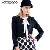 2016 New Fashion Long Sleeve 100 Real Silk Chiffon Contrast Color Bow Tie White Black Blouses