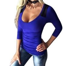 Otoño Mujer de manga larga de sexy Ladies Blanco Gris camisetas de Otoño Patchwork camisetas para mujeres O Cuello Escotado camiseta Slim Camiseta Azul