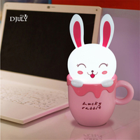 Cartoon Usb Charging Led Teacup Rabbit Kids Night Light Children Bear Holiday Gift Baby Night Lamp Sleeping Light for Bedroom