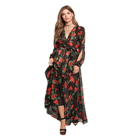 Women Maxi Dress Beautiful Red Flowers Printed Floral Dress Sexy Deep V Neck Hollow Out Long
