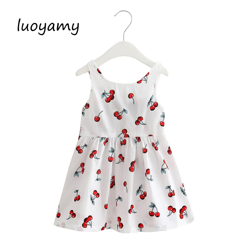 luoyamy Summer Style Girls Baby Cute Printed Dress Children Backless Tie Party Dresses Kids Beach Clothing Princess Dress luoyamy 2017 summer style girls children striped patchwork dress baby party next clothing kids princess cute dresses