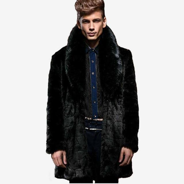 2016 Winter Men Fashion Fur Collar Long Faux Mink Fur Coats Male ...