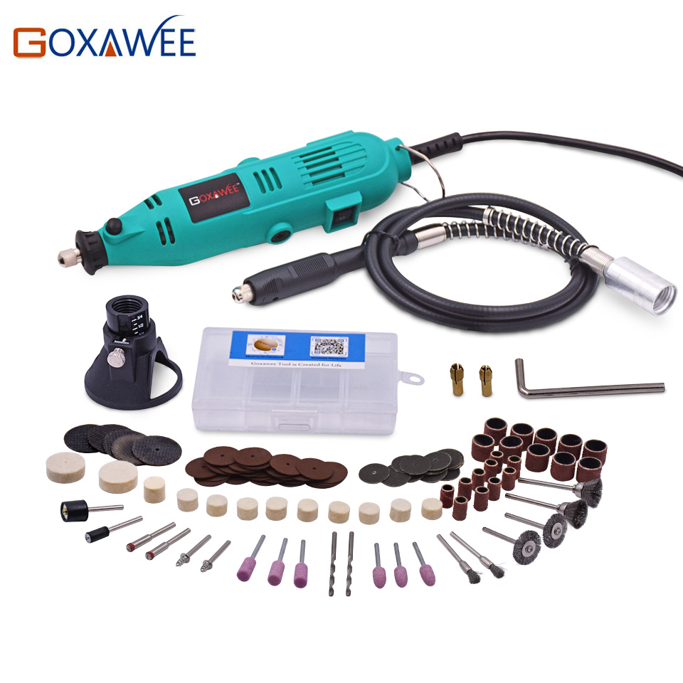 купить GOXAWEE 220V Mini Drill Electric Rotary Tool with Flexible Shaft and 120PC Accessories Power Tools for Dremel Electric Drill по цене 1246.39 рублей