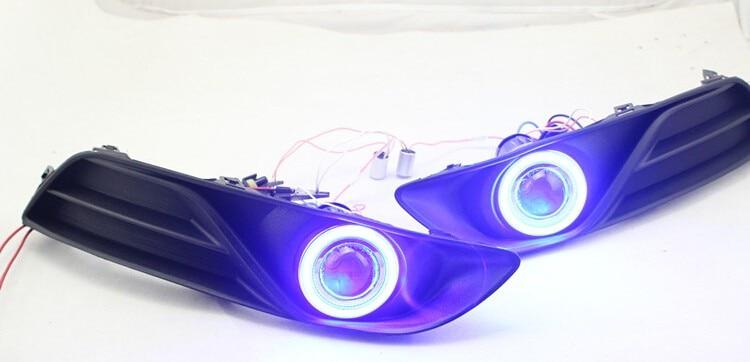 DRL COB angel eye (6 couleurs) + lentille de projecteur + H3 lampe anti-brouillard halogène + couvercle de lampe anti-brouillard pour Nissan Sylphy sentra 2012-14