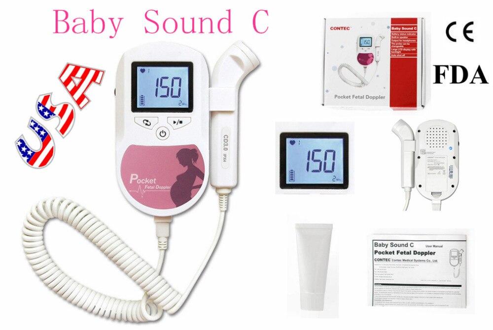 EUA Vendedor 3 MHZ CONTEC Fetal doppler Bebê Som C Rosa/doppler bebê Prenatal Fetal Doppler CE FDA