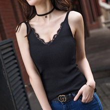 Lace Knitted Tank Tops Female Sexy V-neck Vest Plus size Solid Club Tops Women Black Beige T shirt Cotton Polyester Tank Top 353