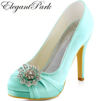 Free Shipping 2015 New Women S EP2015 PF Teal Platform Stiletto Heel Rhinestone Almond Toe Prom