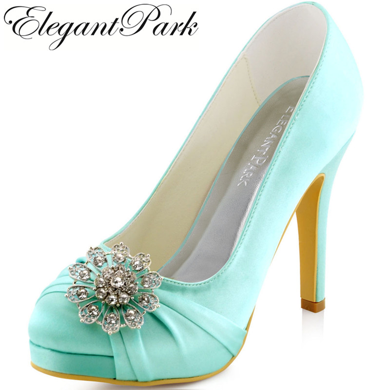 Woman High heel wedding shoes Platform Closed toe Mint Rhinestones Satin Lady Prom Evening Party Bridal Pumps EP2015 Green Teal
