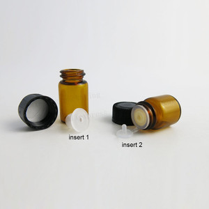 Image 3 - 100  X 1ml 2ml 3ml 5ml Mini Amber Glass Essential Oil Bottle Orifice Reducer cap  Small Brown Glass Vials with hole insert
