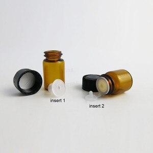 Image 3 - 100X1ml 2ml 3ml 5ml Mini di Vetro Ambrato Bottiglia di Olio Essenziale di Orifizio Riduttore Small cap marrone Fiale di Vetro con il foro di inserimento