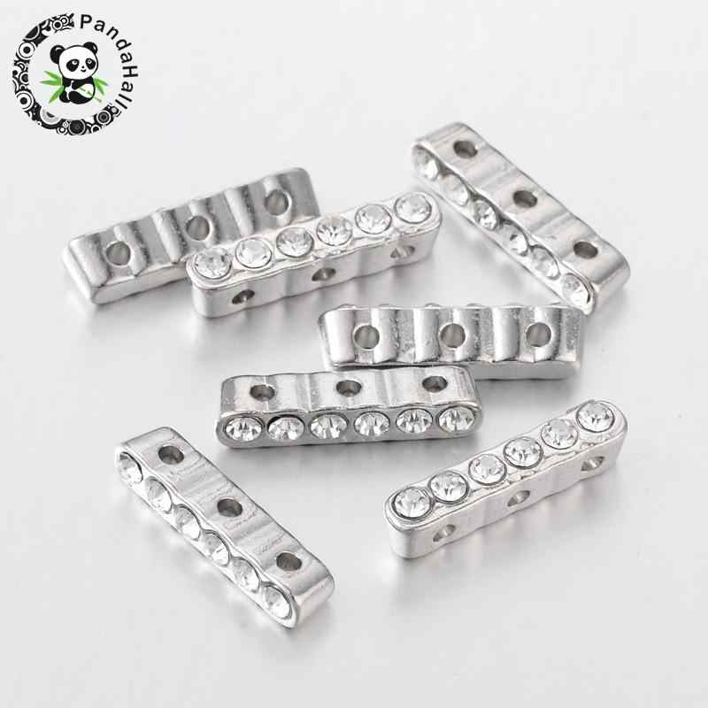 Alloy Bar Spacer, with Grade A Rhinestone, Platinum, Crystal, Size: about 4mm wide, 20mm long, 5mm thick, hole: 1mm