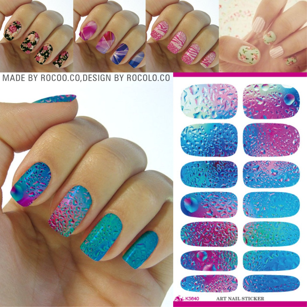 Stickers decals nail stickers nail art decals fashion - Rocooart K5640 Nail Art Stickers Mysterious Blue Ocean Drops Water Transfer Nail Sticker 3d Manicure Minx Nail Wraps Foil Decals In Stickers Decals From
