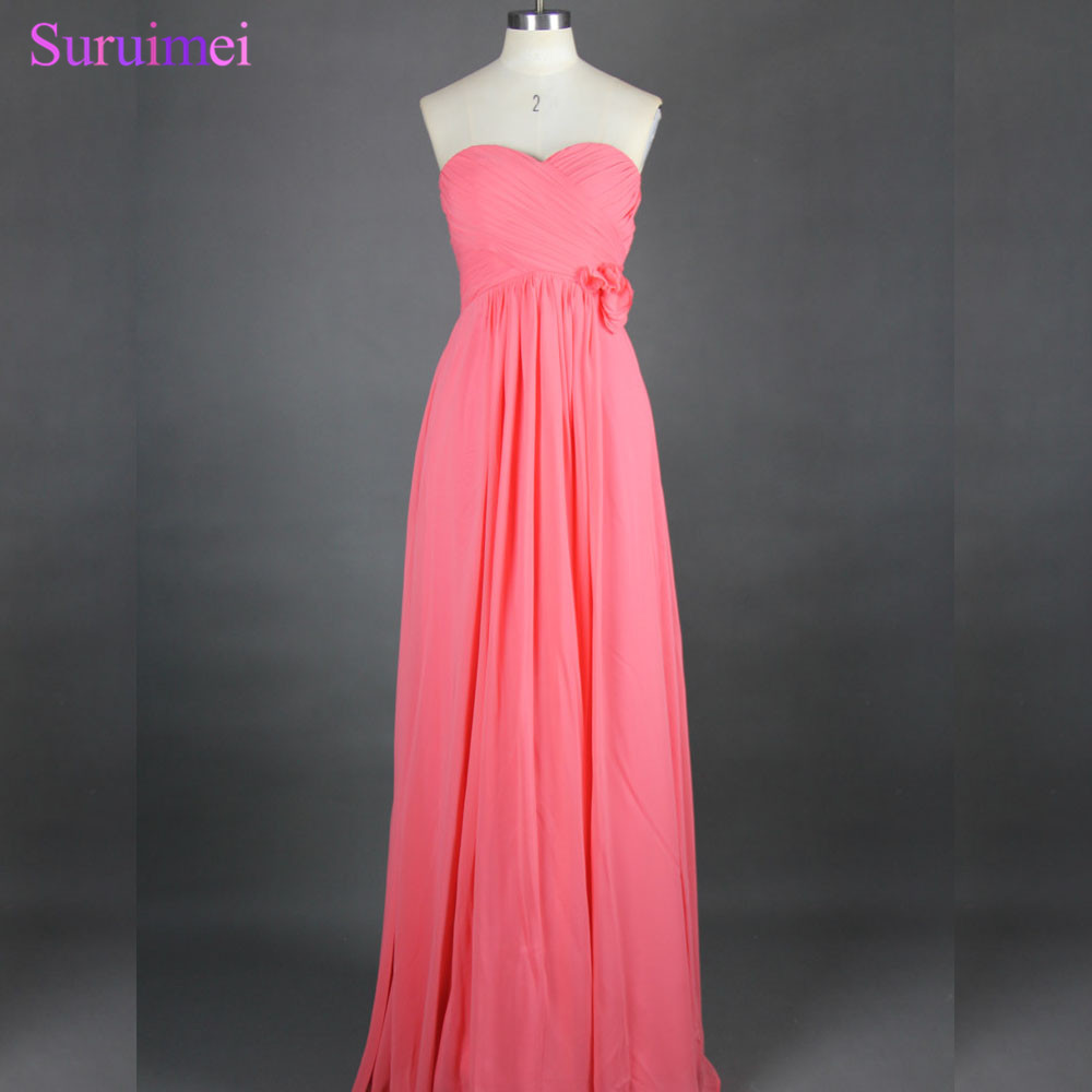 Real Sample On Sale Chiffon Floor Length Coral   Bridesmaid     Dresses   With Handmade Flower Long Brides Maid   Dress