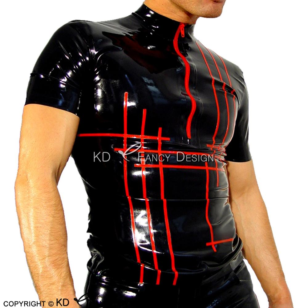 Black With Red Cross Trims Sexy Latex <font><b>Shirt</b></font> With Short Sleeves Rubber Clothings Tee <font><b>Shirt</b></font> YF-0122 image