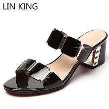 418aeef00 لين الملك الترفيه سميكة وحيد النساء النعال الأزياء معدن مربع كعب مفتوحة  اصبع القدم الصيف مكتب أحذية الجمال في الهواء الطلق الإنا.