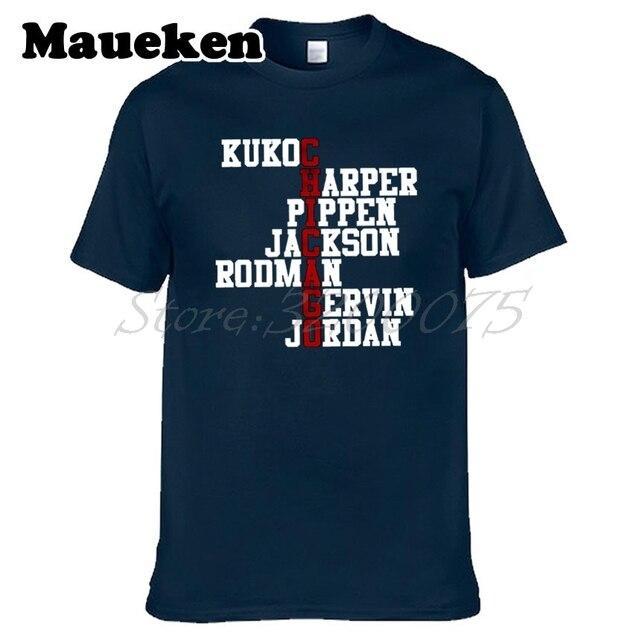 d2440a1b0ec6 Men Chicago Dynasty Retro Stars Vintage Rosters Michael Jordan Pippen  Rodman Kukoc Bulls Harper Jackson T-shirt W1113002