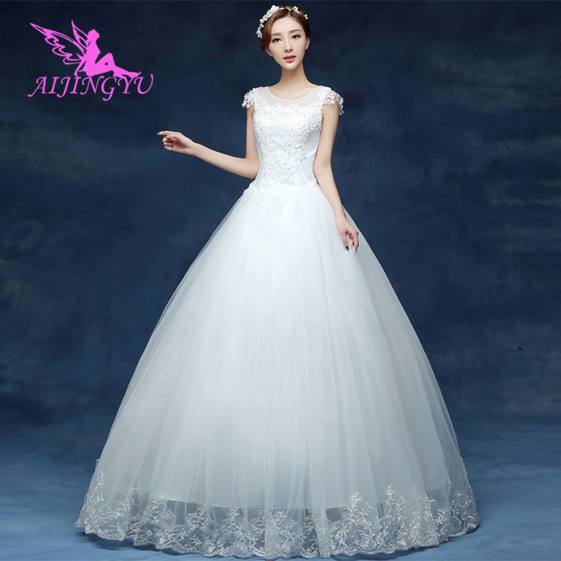 AIJINGYU 2018 Communion Free Shipping New Hot Selling Cheap Ball Gown Lace Up Back Formal Bride Dresses Wedding Dress WK568