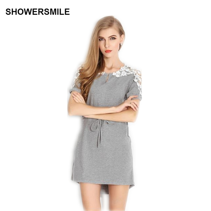 Buy Cheap SHOWERSMILE Brand Clothing Tshirt Mini Dress Fashion Plus Size Summer Dress Womens Embroidering Designs Short Sleeve Cotton