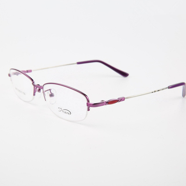 Memory Alloy Half Frame Lady Black Purple Pink Color Eyeglasses Myopia Spectacle Girl Fashion Prescription Glasses Frame