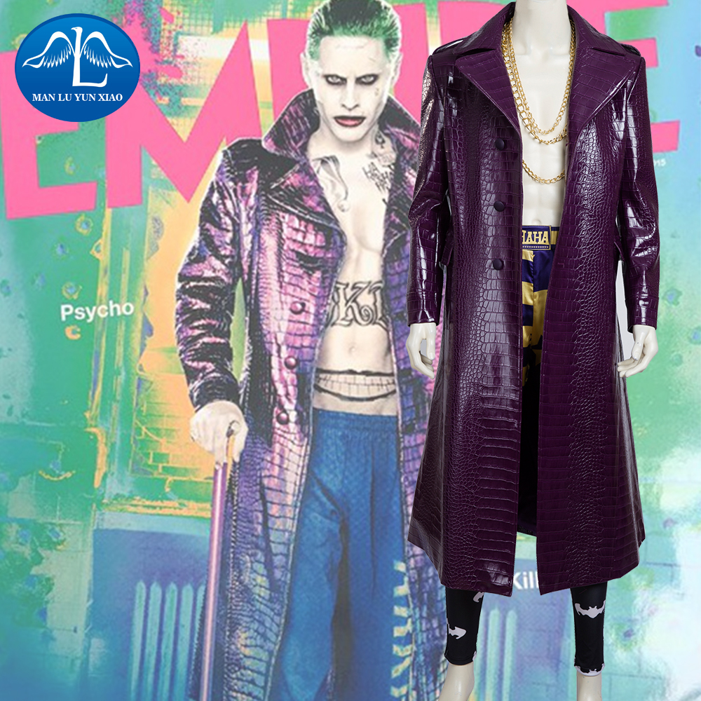 MANLUYUNXIAO Men s Suicide Squad Joker Costume Deluxe Outfit Halloween Cosplay Costume for Adult Custom Made