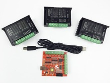 CNC TB6600 mach3 usb 3 Axis Kit, 3pcs 1 Driver + one 4 USB Stepper Motor Controller card 100KHz
