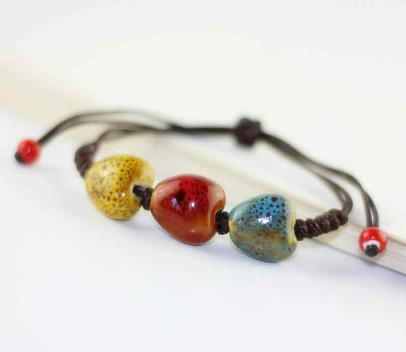 Высокое качество модные возвращение к древним ручной работы Керамика Бусины Шарм подарок Для женщин браслет Для женщин Прохладный Ювелирные изделия Доставка