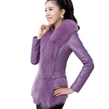 Big Wool Collar Sheepskin Suit Down Jacket Fashion Wild 2016 Women Plus Cotton Warm Jacket Women High Quality Jacket