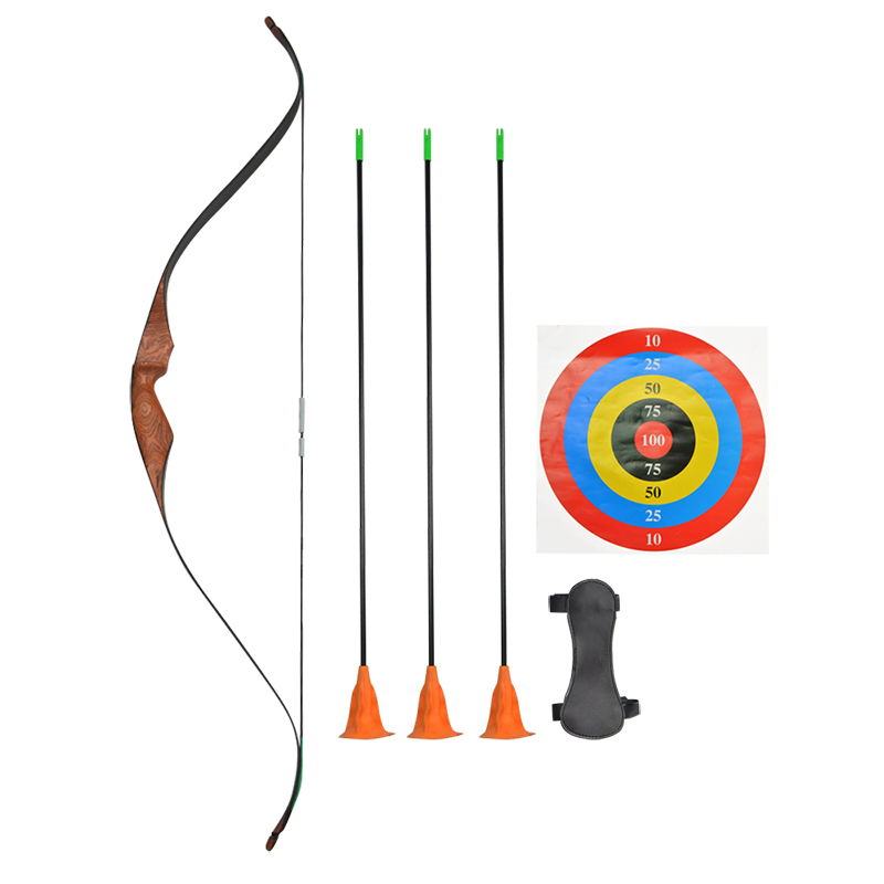1Set Archery Children Wooden Bow And Arrow Set Safety Arrowhead Recurve For Outdoor Sports Practicing Hunting Accessories