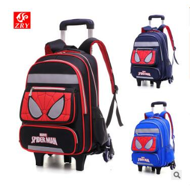 Spider Kids Travel Trolley School Backpack Bag Wheeled School bag on wheels Children School Bags with wheels For boys Mochilas