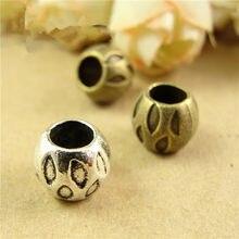 100 pces 9*7mm metal liga de zinco antigo bronze/prata cor contas redondas para fazer jóias