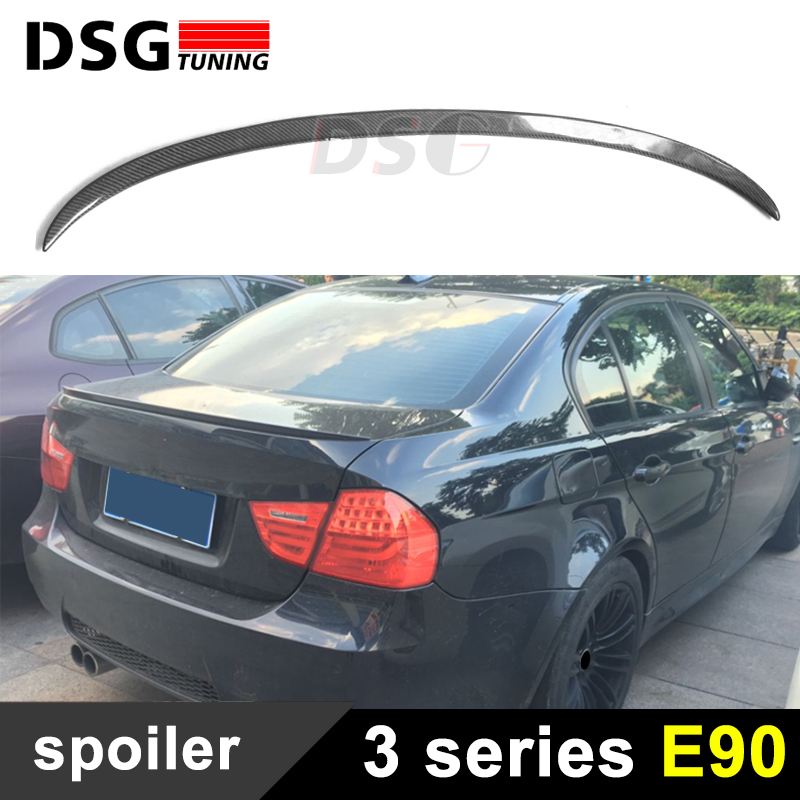 E90 M3 Style Carbon Fiber Rear Spoiler For BMW 3 Series 4 Door Sedan E90 / E90 M3 2005 - 2011 Saloon Trunk Spoiler Wing yandex w205 amg style carbon fiber rear spoiler for benz w205 c200 c250 c300 c350 4door 2015 2016 2017