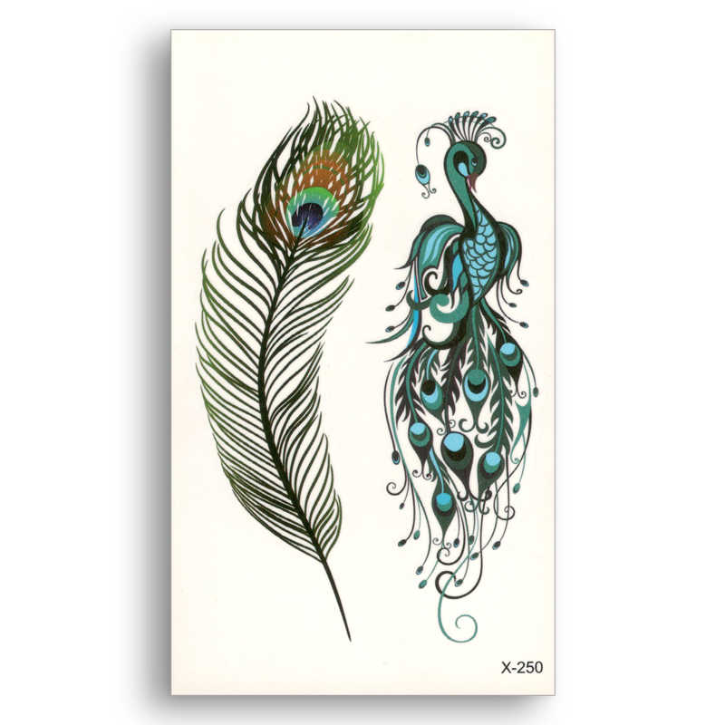Fake temporary waterproof tattoo Water Transfer Colored peacock feathers Sticker Men Women Girl Beauty Body Art Makeup X250