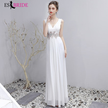 Evening Dress 2019 New White Simple Sexy Double Shoulder Deep V Show Thin Princess Special Occasion Dresses ES2412