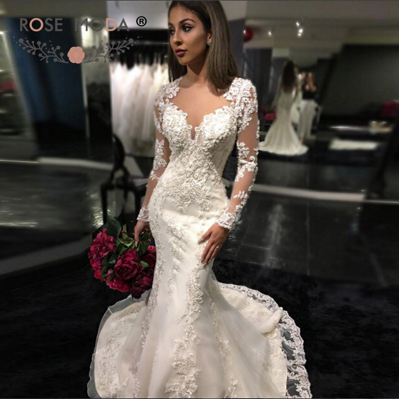 Rose Moda Long Sleeves Lace Wedding Dress 2019 Backless Mermaid Bridal  Dresses Custom Make 7b300b6fd289