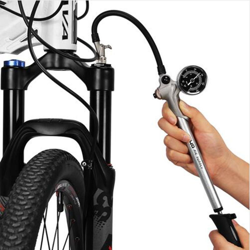 Bicycle Pump With High Pressure Manometer Mini Hand Pump Air hose Schrader Cycling Fietspomp Fork Shock Tire Bike pump