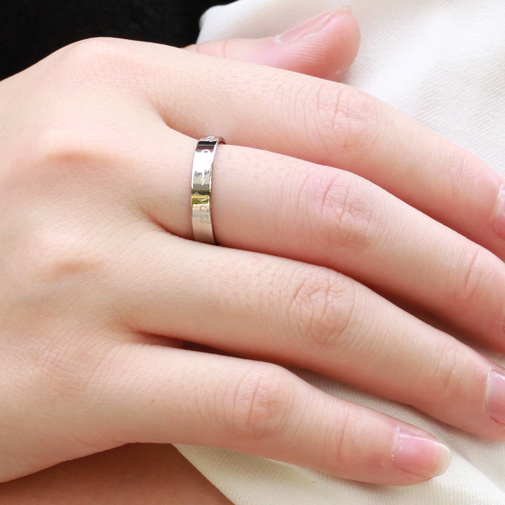 COUPLES JEWELRY titanium engagement ring couple finger rings carved ...