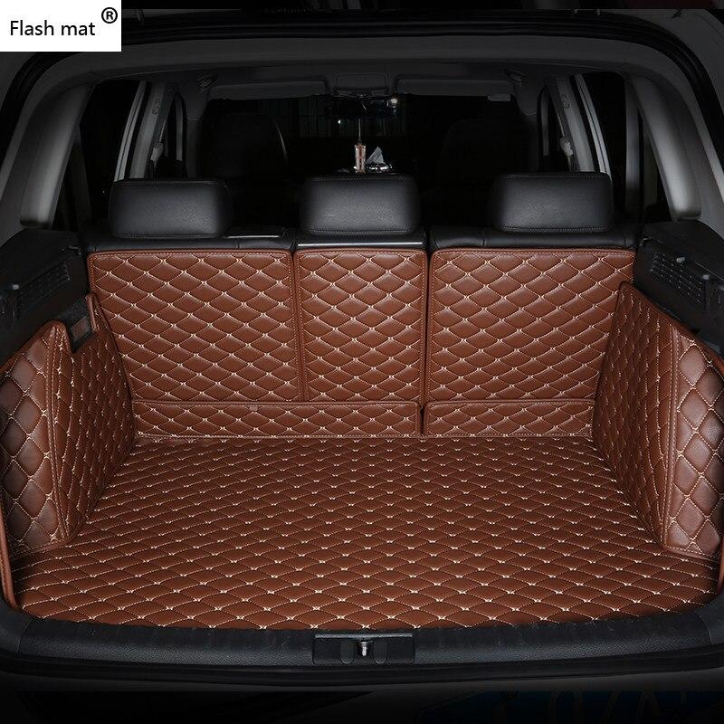 Tapis de coffre de voiture en cuir Flash mat pour Alfa Romeo Stelvio 2017 2018 tampons de pied personnalisés tapis de voiture bâches de voiture